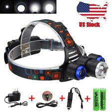 20000Lm 3x XML T6 LED Zoom Headlight Head Headlamp Fishing USB+2x18650+AC/CAR CH