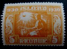 ICELAND # Facit 186, 1930 Millenary of Parliament 5 krona MNH.