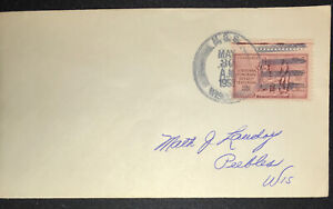 US Naval Cover Cancel Postmark USS WISCONSIN 1953