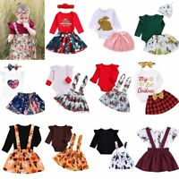 Infant Newborn Toddler Floral Top Romper Skirt Dress Headband Outfit Clothes