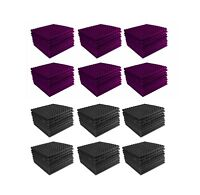 Acoustic Foam 96 pack Purple + Charcoal Gray Pyramid Studio 12x12x1 tiles