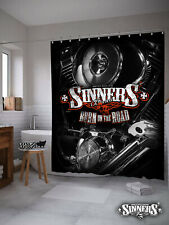 Harley Davidson Biker Shower Curtain BURN on the ROAD