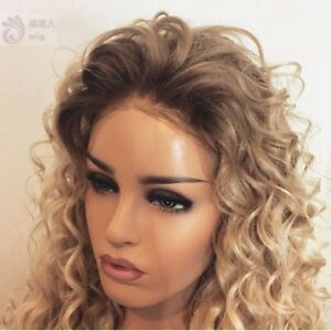 """24"""" Ombre Blonde Heat Resistant Hair Lace Front Wig Women Handtied Afr Curly"""