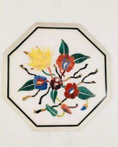 "12"" Marble Corner Table Top Semi Precious Stone Craft Work Floral"