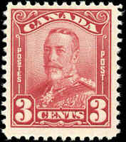 Mint H Canada F+ Scott #151 3c 1928 KGV Scroll Issue Stamp