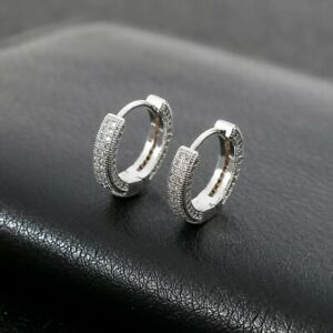 18K PLATINUM FILLED ICED OUT HOOP EARRINGS MADE WITH ROUND SWAROVSKI CRYSTALSWG2