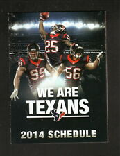 Houston Texans--Watt--Cushing--Jackson--2014 Pocket Schedule--First Community CU