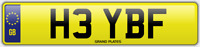 BF INITIALS NUMBER PLATE HEY HI CHERISHED CAR REG H3 YBF NO ADDED FEES TO PAY