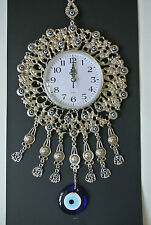 Wall Clock with Turkish Glass Evil Eyes 43cm Works with Battery Quartz