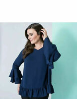Nvee Navy Crepe Double Frill Sleeve Blouse Top Size Large UK 16-18 BNWT