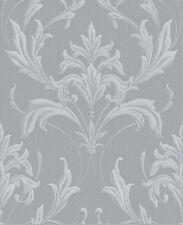 Oxford Silver and Grey Damask Glitter Wallpaper 20-957 Luxury Heavyweight Paper