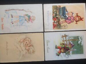 Little girls doll/babies, Bonne Annee, similar. V. Anglade, 4 Vintage Postcards