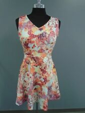 RED SAKS FIFTH AVENUE Orange Blue Yellow Floral Poly Blend Dress Size 6 DD5204