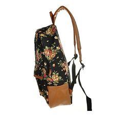 New Flower Floral Bag Schoolbag Bookbag Backpack for Women Girl Vintage Black