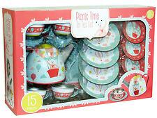 15 Piece Tin Tea Party  Set Child Toy Teddy