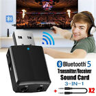 3 in 1 USB Bluetooth 5.0 Audio Transmitter Receiver Adapter For TV PC 3.5mm