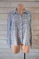 Regatta Top Size 14 Large Blue Red White Floral Shirt Blouse