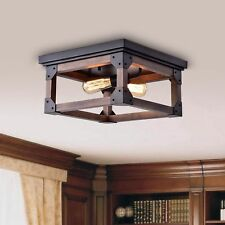 Rustic Industrial Edison Ceiling Light Fixture ~ Square Wood Flush Mount Antique