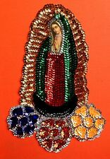 Authentic Mexican Sequinned Applique Patch Virgin of Guadalupe w/ large Flowers