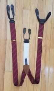 Trafalgar mens suspenders diagonal maroon stripe leather braces adjustable