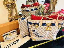 ST BARTH Louis Vuitton Summer Trunks Damier Azur NEVERFULL Bag Tote + POCHETTE