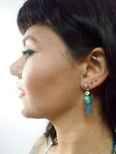 Boucles d'oreilles originales oiseaux perroquets aras muticolores tropical pinup