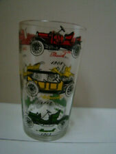 Vintage Mid Century Drinking Glass Early 1900's Cars - Ford, Cadillac, Stanley +