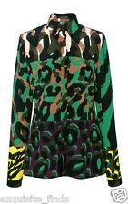 New VERSACE Military Print 100% Silk Button Up Shirt 38 - 4