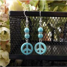 Womens Earrings Peace Sign Symbol Turquoise Drop Dangly Boho Ladies Jewellery