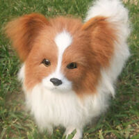 Realistic Lifelike Plush Papillon Dog Toy Large Dog Doll Stuffed Animal Kid Gift