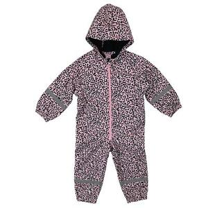 Girls Waterproof Softshell Fleece Lined Puddle All In One Kids Rain Suit Overall