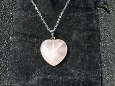 "Pretty ROSE QUARTZ HEART PENDANT - 18"" SILVER Chain Necklace - Silk Pouch - GIFT"