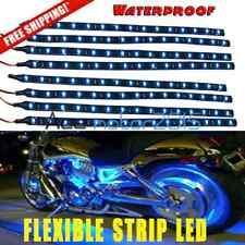8x 15 LED 30cm Car Motor Flexible Waterproof Strip Light Interior 12V Ultra Blue