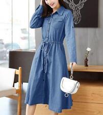 ladies blue denim Dress long Sleeve Denim Dress summer loose denim jeans Dress