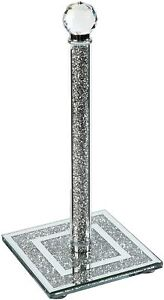 AG_Crystal Kitchen Roll Holders Free Standing     Diamond Filled Square Base