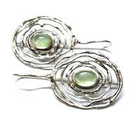 "Prehnite Natural Gemstone Handmade 925 Sterling Silver Earring 1.40"""