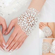 Brides Shining Crystal Bracelet Jewelry Bridal Wedding Party Cuff Bangle Chain