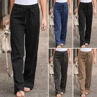 Mode Femme Taille Elastique Couleur Unie Coton lin Jambe Large Pantalos Plus