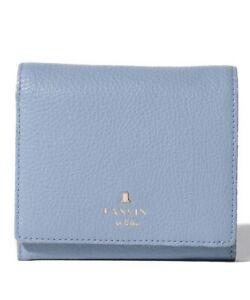 NEW 2021 LANVIN en Bleu Melanie bi-fold BOX wallet Cowhide Leather