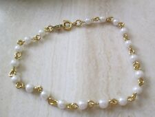 "Avon Vintage**Faux Pearl & Chain Wrist Bracelet**Large 7 1/2"" **New in Box**1994"