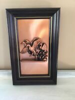 Vintage Mid Century MCM Copper 3D Picture Ducks Geese Mallard Framed Wall Plaque