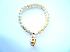 Halloween Bianco Turchese Perlina scolpito SKULL HEAD Bracciale Punk Gothic Rock Rebel