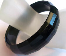 VINTAGE 60's Black ROUND  Thermoset Lucite Bangle Bracelet Estate Jewelry FAB!