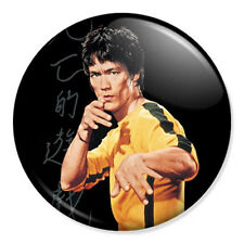 """Bruce Lee 25mm 1"""" Pin Badge Button Game Of Death Art With Lettering Yellow Suit"""