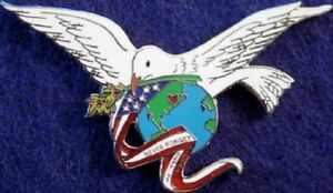 NEVER FORGET 9/11 PIN Peace Dove Flag Globe Flowers 911 Tribute Memorial Sept 11