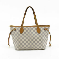 Louis Vuitton Brown Leather Damier Azur PM Neverfull Tote