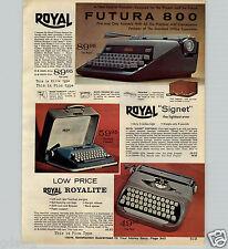 1963 PAPER AD Royal Royalite Signet Portable Typewriter Futura 800