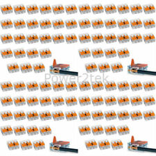 100 x Wago 3 way 221 Secure Wire Connector Terminal Block Cage Clamp Connection
