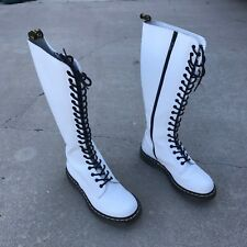 Dr Doc Martens 1B60 Smooth White Tall 20 Hole Eye Tall Combat Show Boots Punk