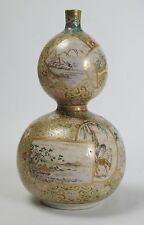 A Japanese Kyo-Satsuma double gourd pottery vase c1850